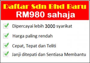 Daftar sdn bhd baru dengan RM980 sahaja